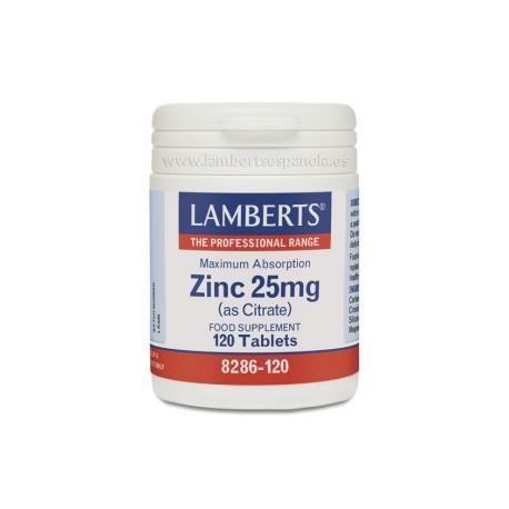 Citrato de zinc 25 mg. de alta absorción de Lamberts