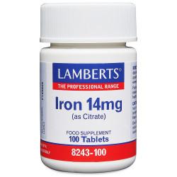 Hierro 14 mg Como Citrato. Mayor absorción 100 tabletas
