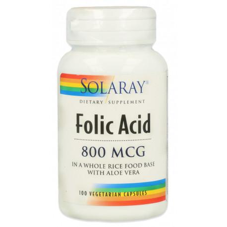 ácido fólico 800μg 100caps Solaray