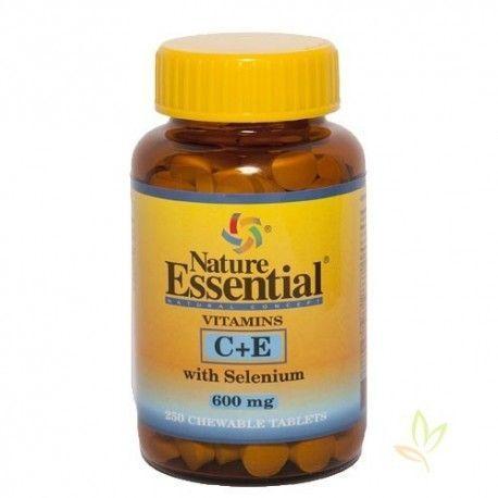 Vitaminas C y E con Selenio 600 mg. masticable 250 Tabletas