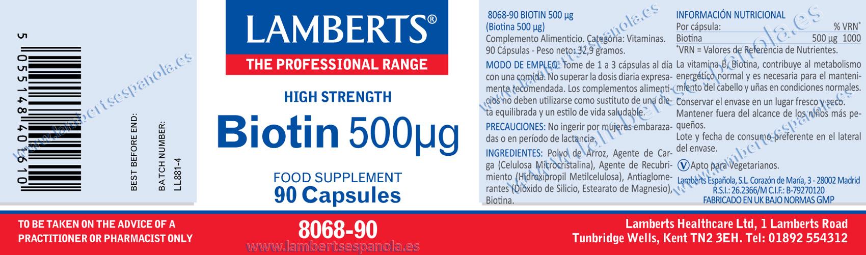 Etiqueta de Biotina lamberts