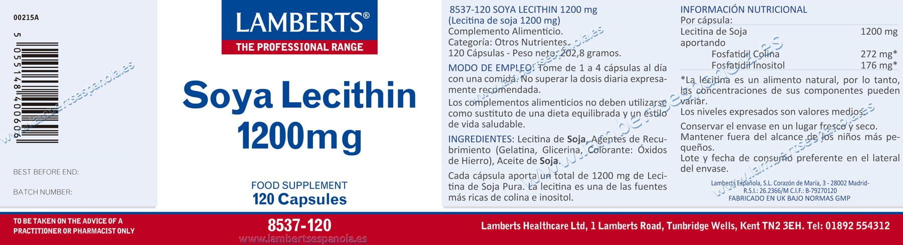 Etiqueta lecitina de soja lamberts
