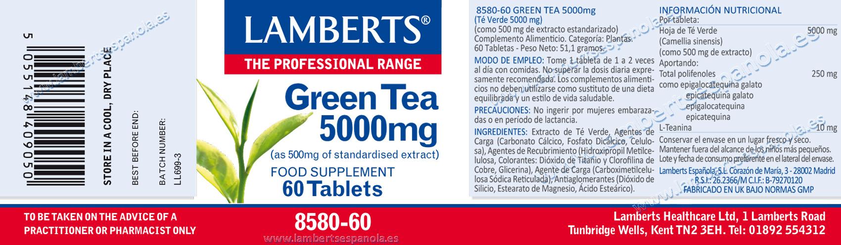 Té verde en comprimidos de Lamberts