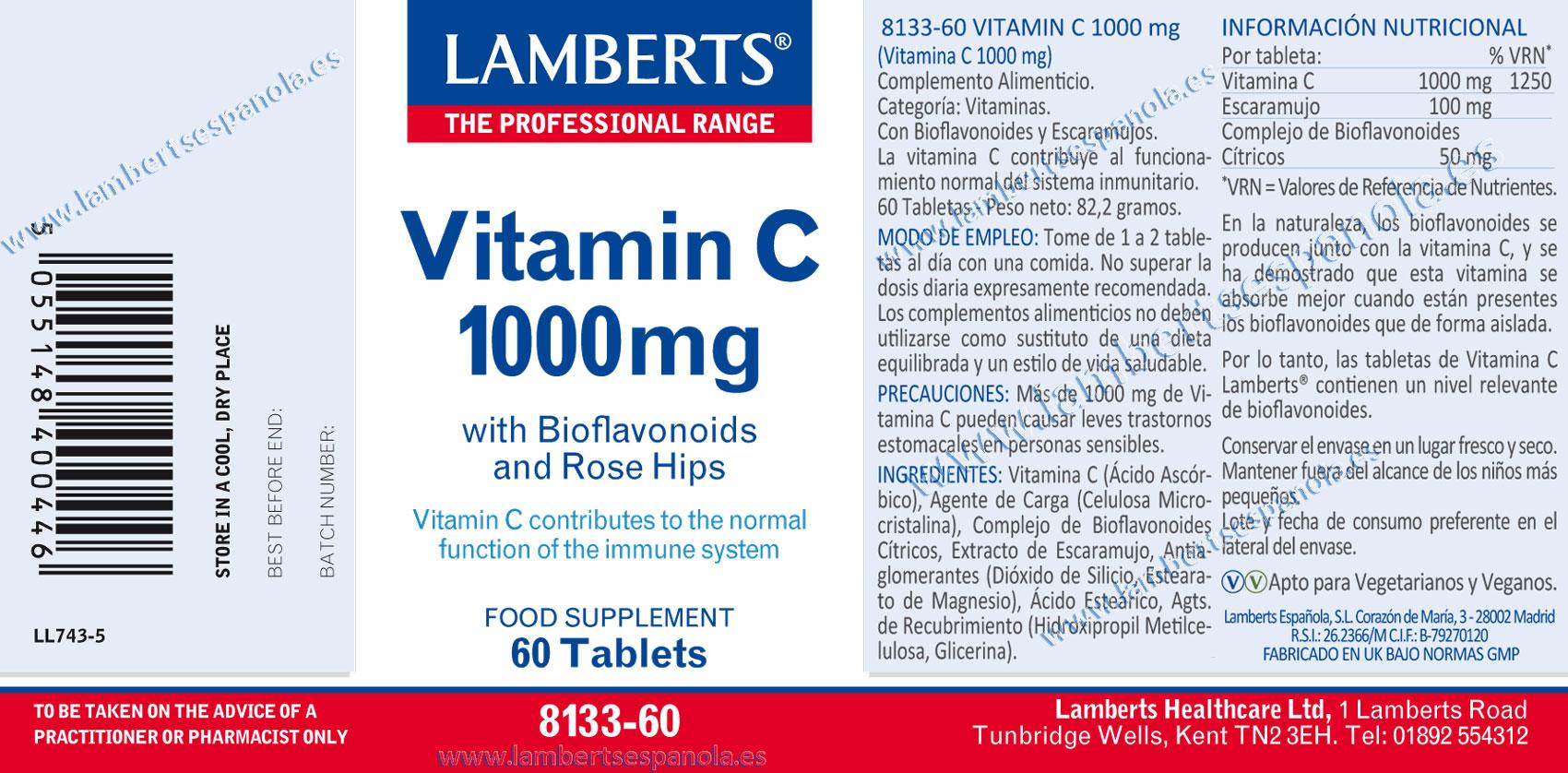 Vitamina C 1000 de Lamberts