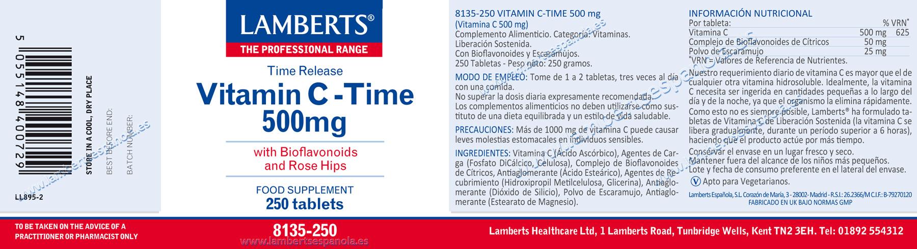 Vitamina C 500 mg de liberación sostenida