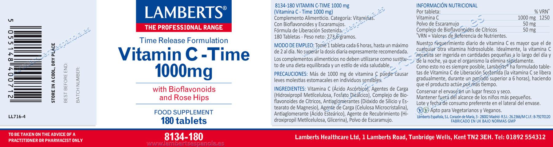Vitamina C de liberación sostenida 1000 mg