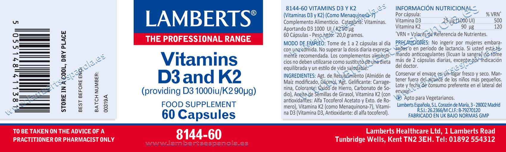 Vitamina D3 con vitamina K2