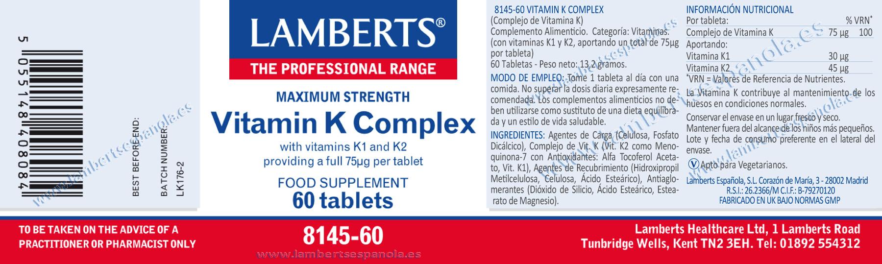 Vitamina K Complex de Lamberts